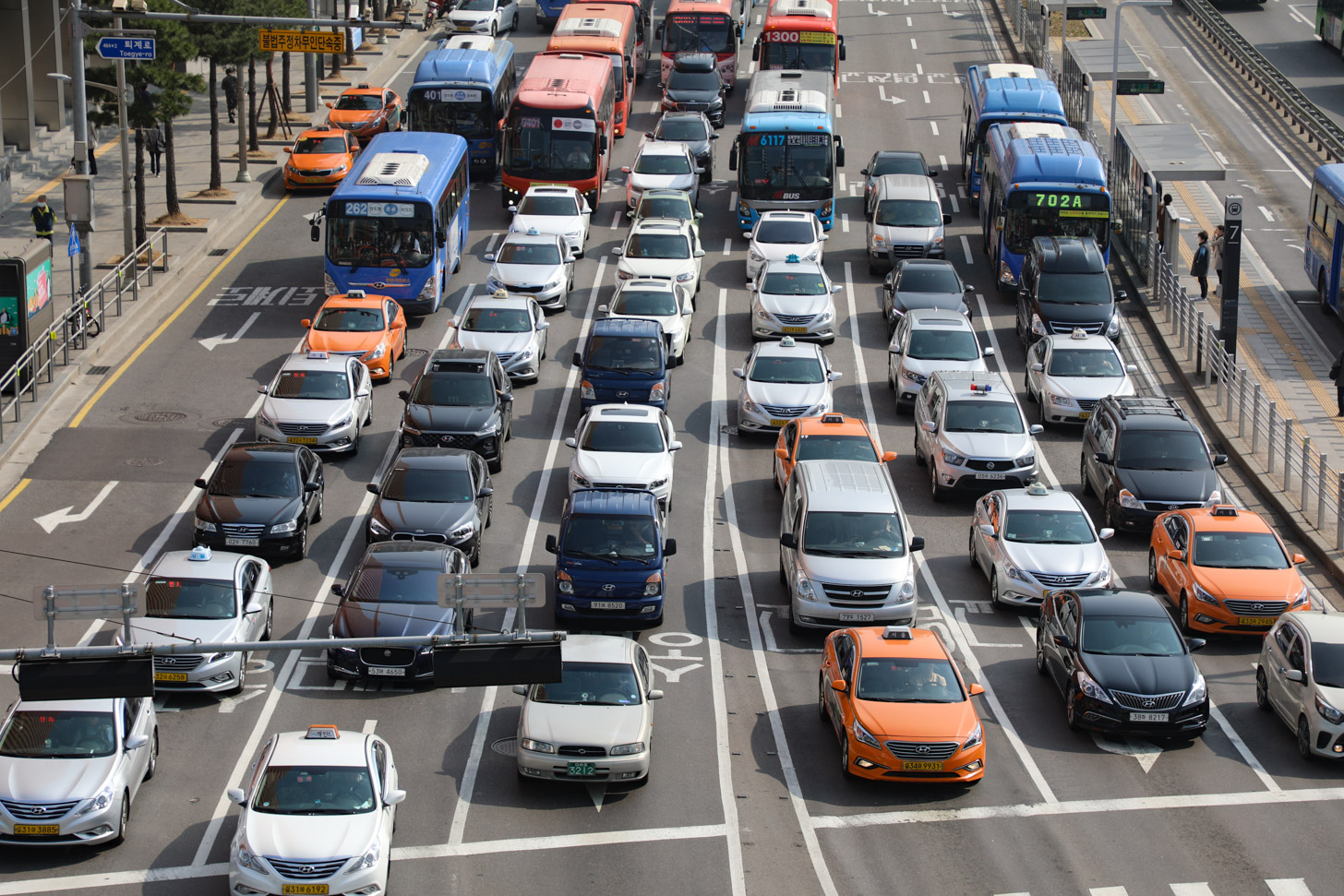 verkeersdrukte in Seoul